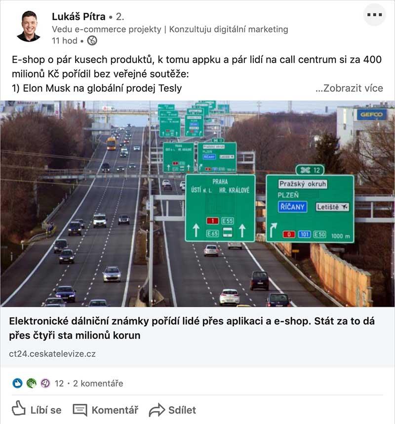 LinkedIn_dálniční známky